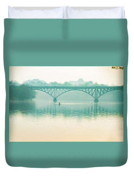 Duvet Cover featuring the photograph Spring - Rowing Under The Strawberry Mansion Bridge by Bill Cannon