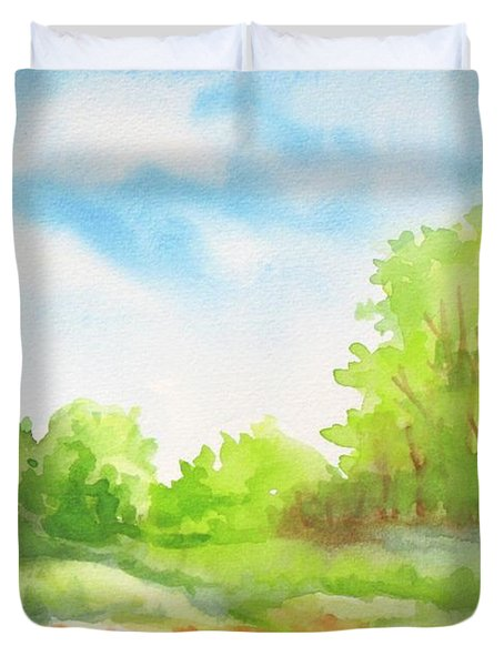 Duvet Cover featuring the painting Spring Scene by Inese Poga