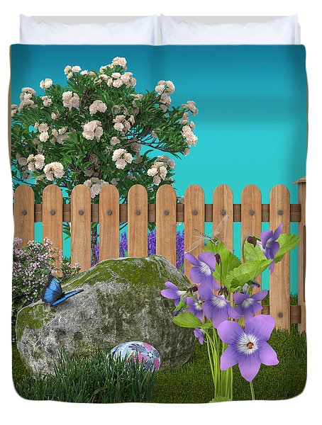 Duvet Cover featuring the digital art Spring Scene by Mary Machare