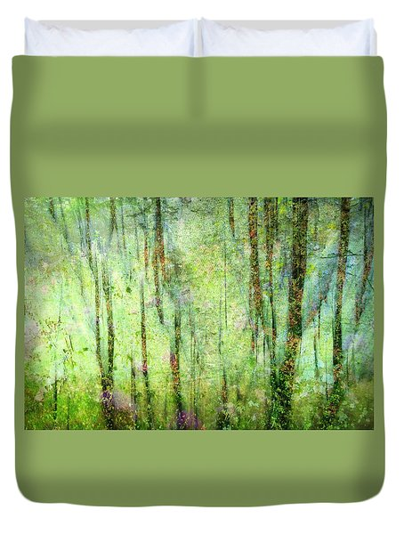 Spring In The Woods Duvet Cover by Shirley Sirois