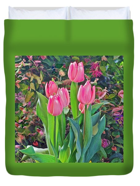 Spring Show 14 Pink Tulips  Duvet Cover