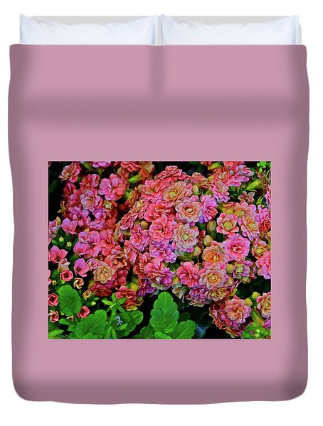 Duvet Cover featuring the photograph Spring Show 18 Double Pink Kalanchoe by Janis Nussbaum Senungetuk
