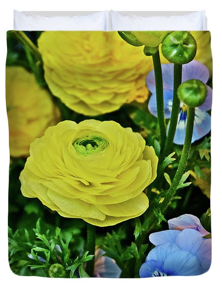 Spring Show 18 Persian Buttercup With Horned Viola Duvet Cover