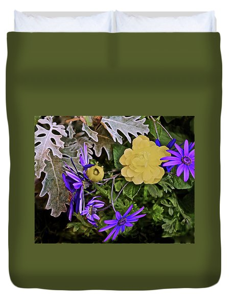 Duvet Cover featuring the photograph Spring Show 18 Persian Buttercup With Florist's Cineraria 2 by Janis Nussbaum Senungetuk