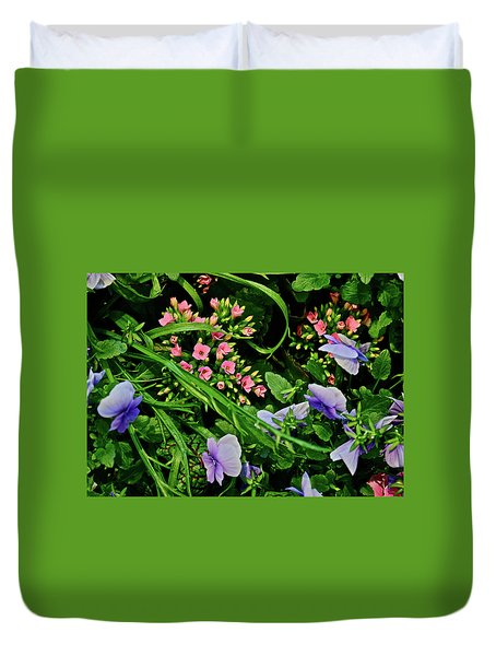 Duvet Cover featuring the photograph Spring Show 18 Pink Kalanchoe And Viola by Janis Nussbaum Senungetuk