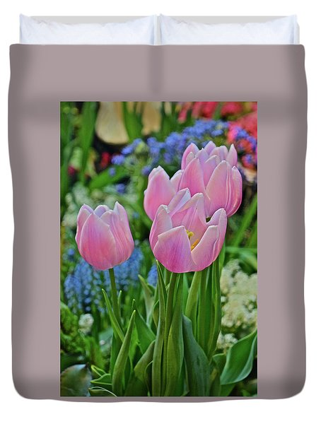 Duvet Cover featuring the photograph Spring Show 18 Pink Tulip Welcome by Janis Nussbaum Senungetuk