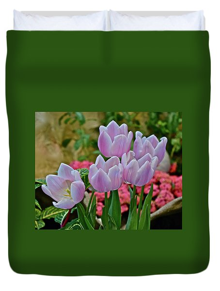 Duvet Cover featuring the photograph Spring Show 18 Pink Tulips And Montego Rose Snapdragons by Janis Nussbaum Senungetuk