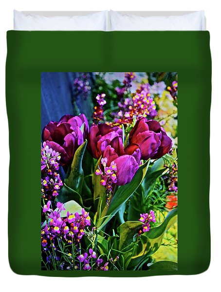 Duvet Cover featuring the photograph Spring Show 18 Red Violet Tulips With Toadflax 1 by Janis Nussbaum Senungetuk