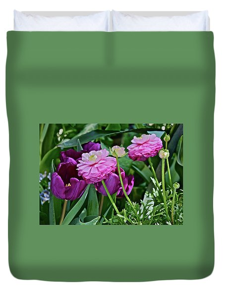 Duvet Cover featuring the photograph Spring Show 18 Tulips And Ranunculus by Janis Nussbaum Senungetuk