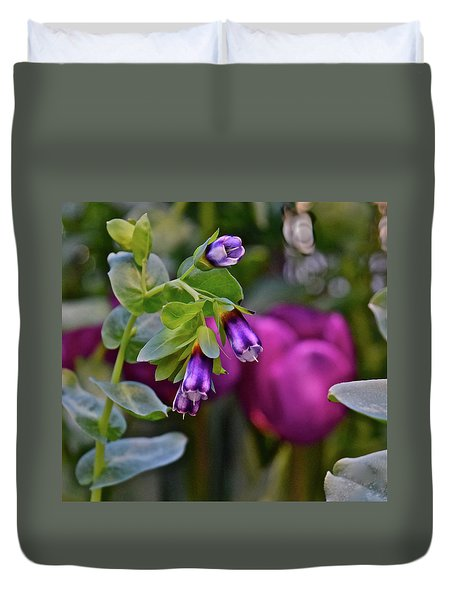Duvet Cover featuring the photograph Spring Show 18 Violet Bells by Janis Nussbaum Senungetuk