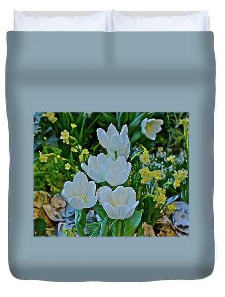 Duvet Cover featuring the photograph Spring Show 18 White Tulips And Minnow Daffodils by Janis Nussbaum Senungetuk