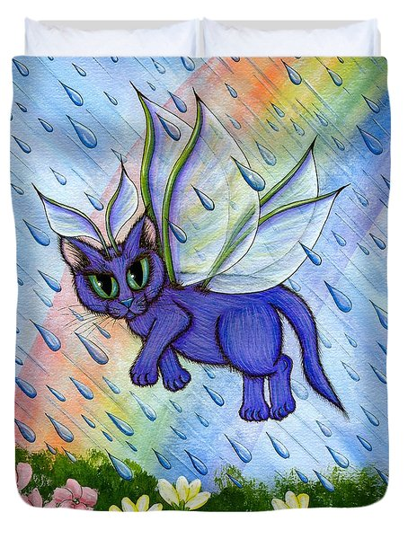 Duvet Cover featuring the painting Spring Showers Fairy Cat by Carrie Hawks