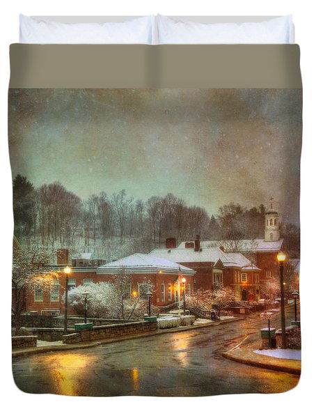 Spring Snow In Peterborough Nh Duvet Cover