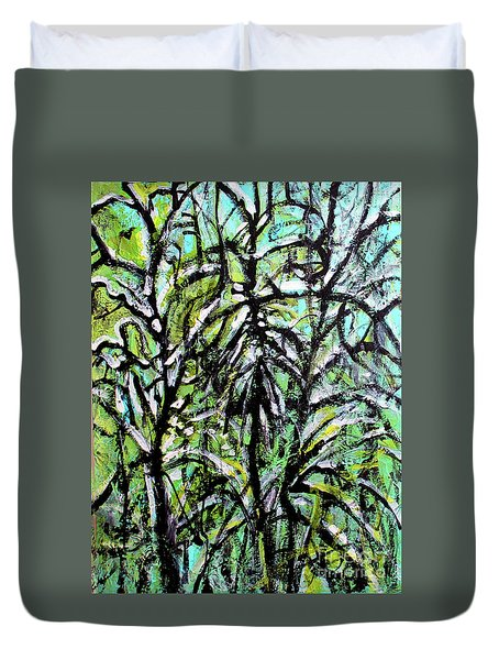Duvet Cover featuring the painting Spring Snow by Priti Lathia