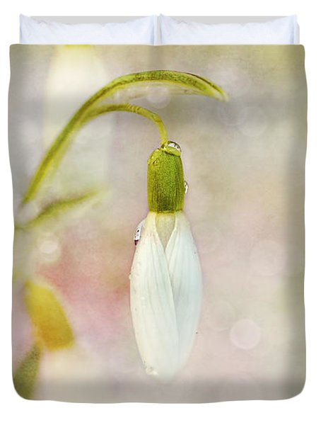 Spring Snowdrops And Bokeh Duvet Cover