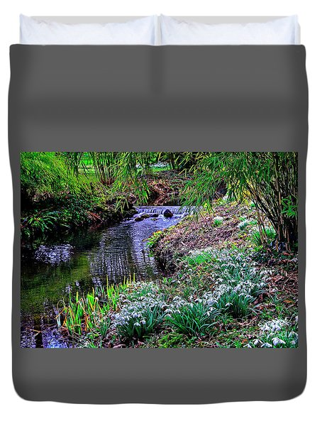 Spring Snowdrops By Stream Duvet Cover
