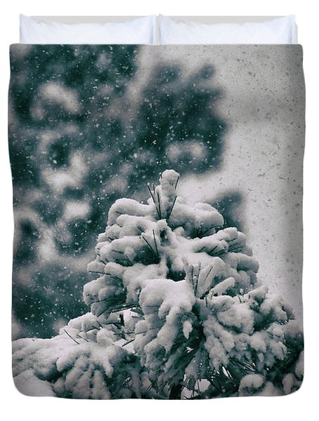 Spring Snowstorm On The Treetops Duvet Cover