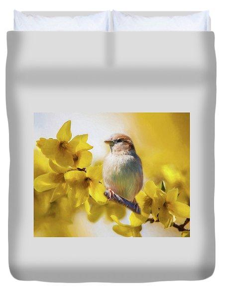 Spring Sparrow Duvet Cover