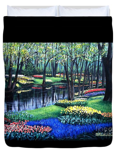 Duvet Cover featuring the painting Spring Splendor Tulip Garden by Patricia L Davidson