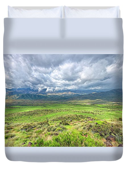 Spring Storm Moving Over The Bradshaw Duvet Cover by Charles Ables