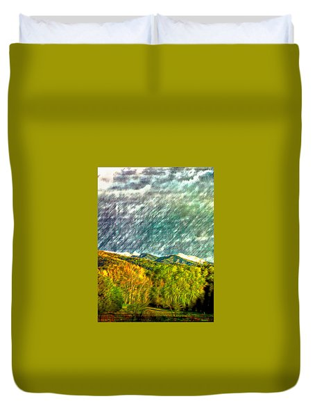 Spring Storm Over Truchas Peaks Duvet Cover by Anastasia Savage Ealy