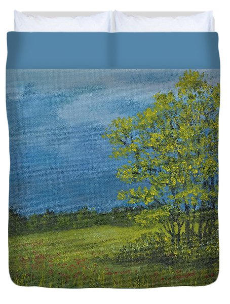 Duvet Cover featuring the painting Spring Storm - Spring Leaves by Kathleen McDermott