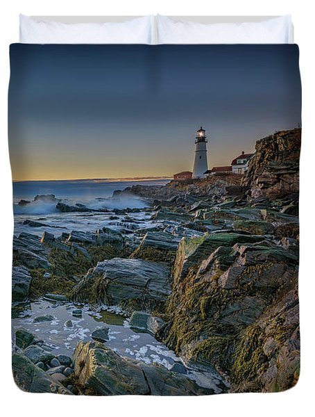 Duvet Cover featuring the photograph Spring Sunrise At Portland Head by Rick Berk
