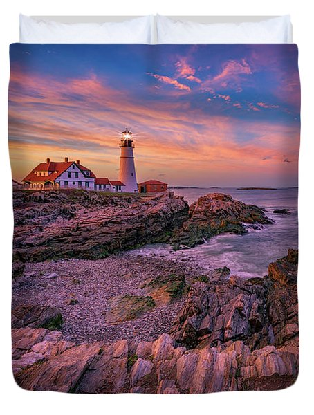 Spring Sunset At Portland Head Lighthouse Duvet Cover