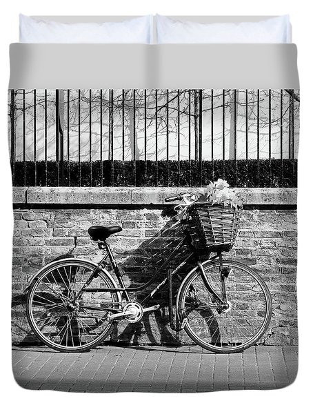 Duvet Cover featuring the photograph Spring Sunshine And Shadows In Black And White by Gill Billington