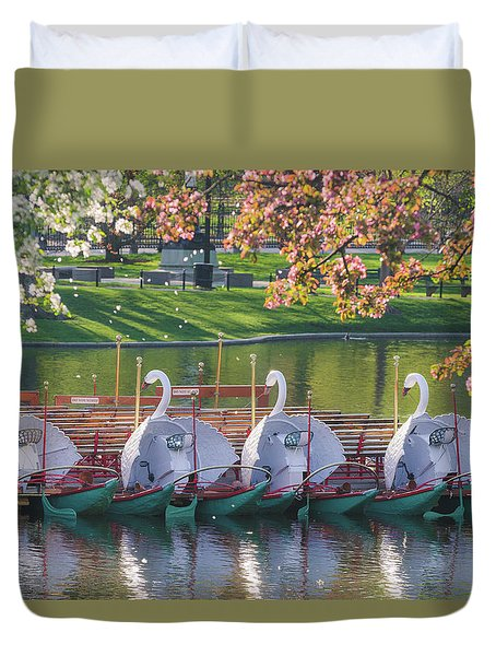 Spring Swan Boats Duvet Cover by Mike Ste Marie