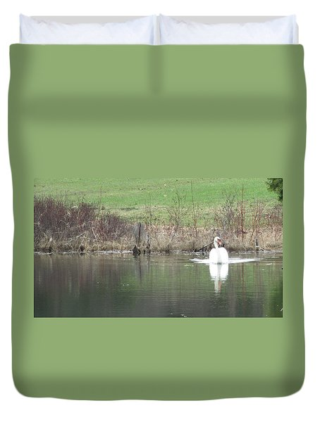 Spring Swan Duvet Cover by Wendy Shoults