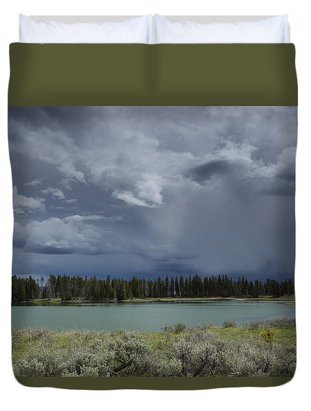 Spring Thunderstorm At Yellowstone Duvet Cover