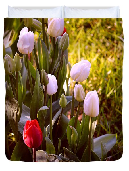 Duvet Cover featuring the photograph Spring Time Tulips by Susanne Van Hulst