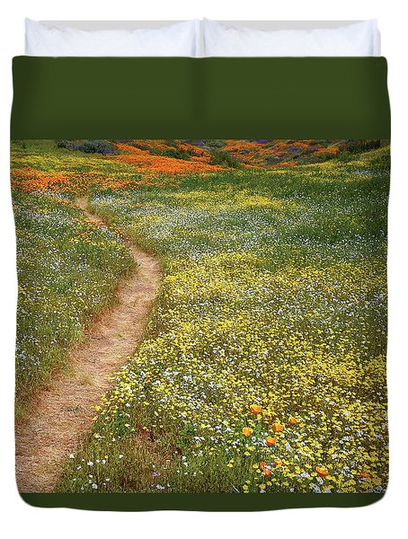 Duvet Cover featuring the photograph Spring Trail Through A Sea Of Wildflowers At Diamond Lake In California by Jetson Nguyen