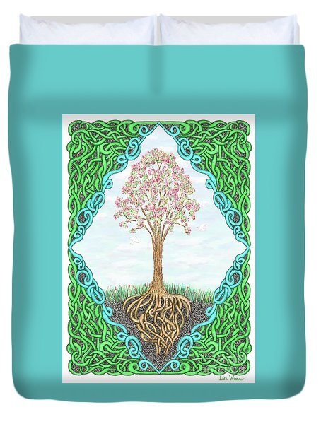 Spring Tree With Knotted Roots And Knotted Border Duvet Cover by Lise Winne