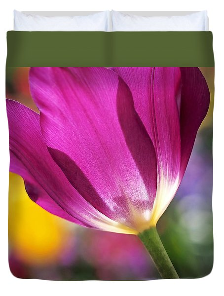 Duvet Cover featuring the photograph Spring Tulip by Rona Black