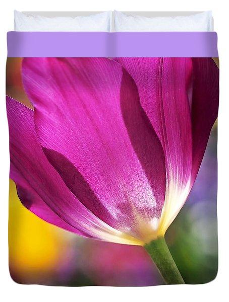Spring Tulip - Square Duvet Cover by Rona Black