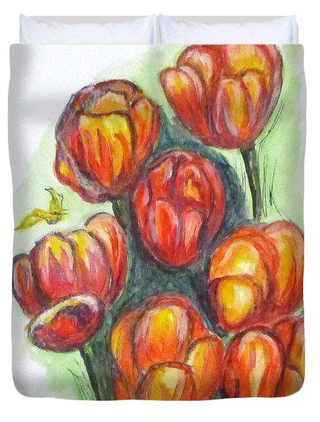 Spring Tulips Duvet Cover by Clyde J Kell