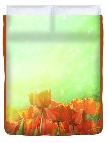 Spring Tulips In Field Duvet Cover