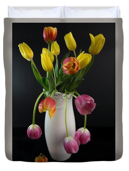 Spring Tulips In Vase Duvet Cover