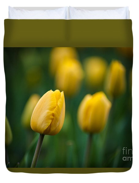 Spring Tulips Yellow Duvet Cover