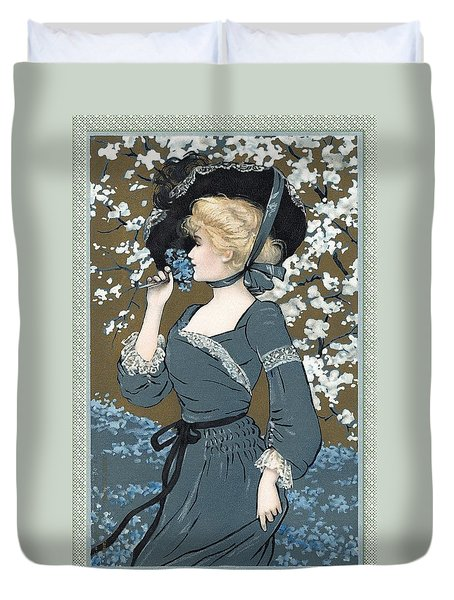 Portrait Of Spring Victorian Lady Duvet Cover