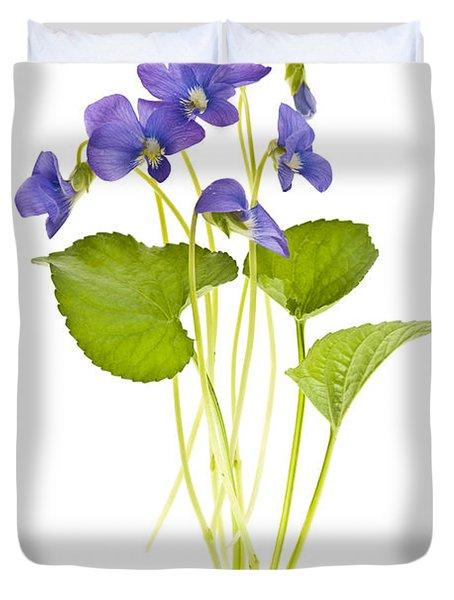 Spring Violets On White Duvet Cover by Elena Elisseeva