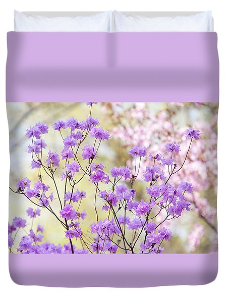 Duvet Cover featuring the photograph Spring Watercolors. Blooming Rhododendron  by Jenny Rainbow