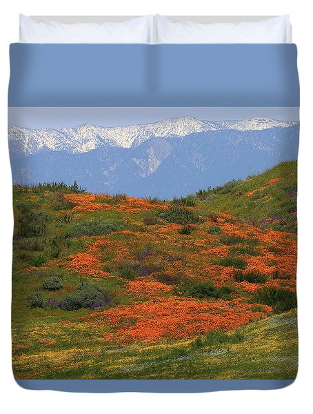 Spring Wildflower Display At Diamond Lake In California Duvet Cover