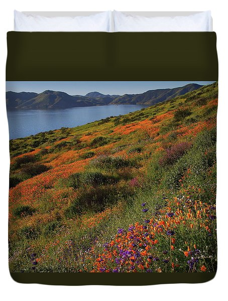 Spring Wildflower Season At Diamond Lake In California Duvet Cover by Jetson Nguyen