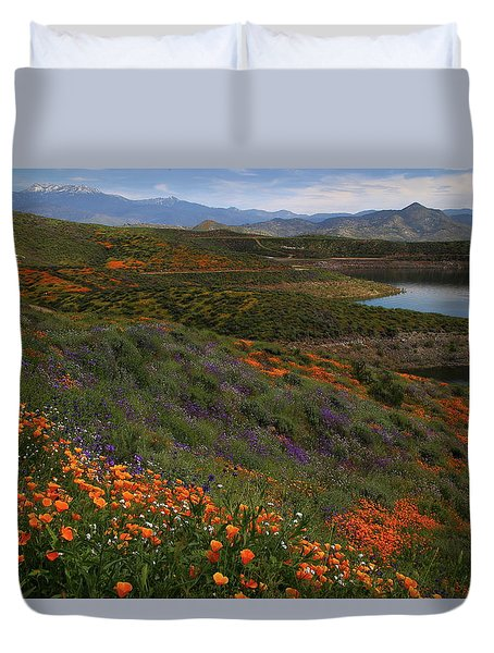 Duvet Cover featuring the photograph Spring Wildflowers At Diamond Lake In California by Jetson Nguyen