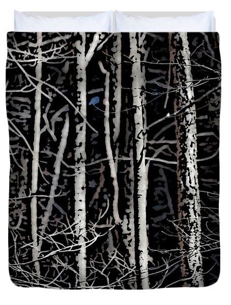 Spring Woods Simulated Woodcut Duvet Cover by David Lane