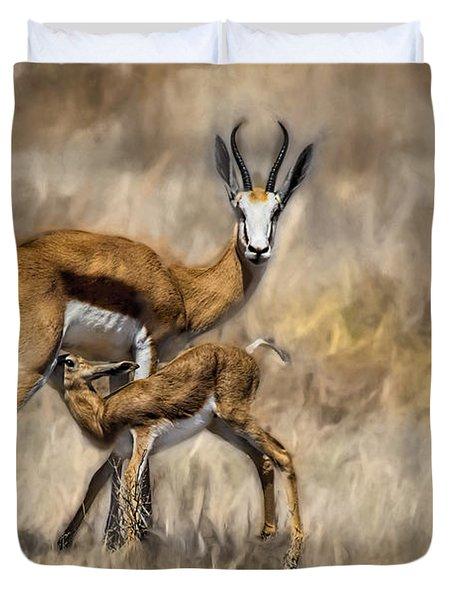 Springbok Mom And Calf Duvet Cover