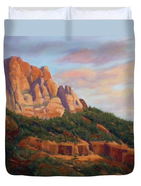 Springdale Sunset On Johnson Mountain Duvet Cover
